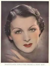 standard make up for a brunette 1930s