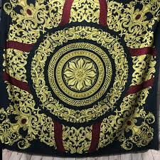 Gilded Design Polyester Baroque Print Scarf W Gilded Design