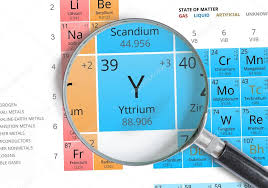 Yttrium symbol - Y. Element of the periodic table zoomed with ...
