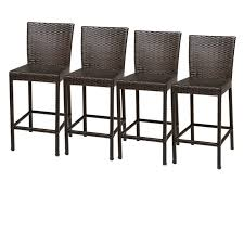 Amazoncom Outdoor Patio Seven Piece Brown Wicker Bar Set With 6 Outdoor Wicker Bar Furniture