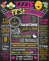 standard size posters bee first birthday chalkboard first birthday poster bee