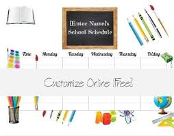 Free School Schedule Maker Customize Online Print At Home
