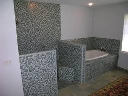 Bathrooms  Simple Mosaic Bathroom Design White Undermount Bathtub - Tile bathroom design