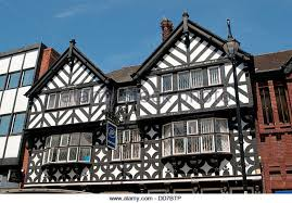 Boots shop, Mock Tudor architecture, Foregate Street, Chester, Cheshire, UK  -