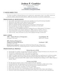 Resume Sample For Human Resource Position