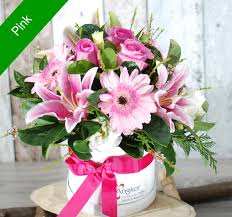 standard flower size stylish hat box arrangement pink standard size hb09 angkor flowers