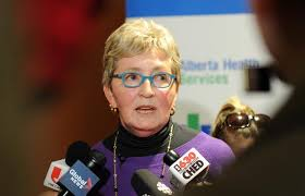 Dr. Marcia Johnson, Edmonton Zone Officer of Health, talks to media at the  University of Alberta