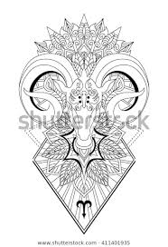 Stock Vektor Aries Mandala Tattoo Designhorn Sheep Line Bez
