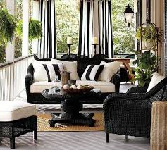 white indoor sunroom furniture. Wicker Furniture With Stripes Cushions In White And Blue Colors...beautiful Porch! Indoor Sunroom