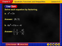 6 solve each equation by factoring