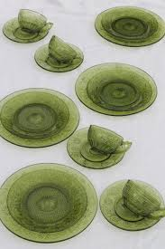 vintage indiana daisy pattern glass dishes avocado green glass plates cups saucers