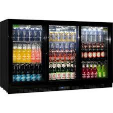 rhino glass 3 sliding door back bar fridge
