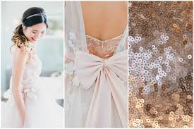 blush sequin custom wedding dress with 3d flowers