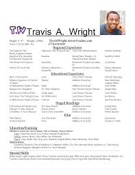 Musical Theatre Resume Acting Resume Sample Musical Theatre Resume Template Yralaska 35