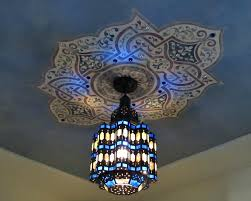 colorful blue moroccan style light fixture and painted ceiling medallion stencil custom stencils for decorativemoroccan fixtures