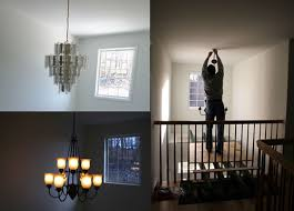 diy scaffolding to hang foyer light
