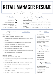 Good Resume Examples Retail Retail Manager Resume Example Writing Tips Rg