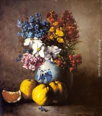 a still life with a vase of flowers and fruit painting