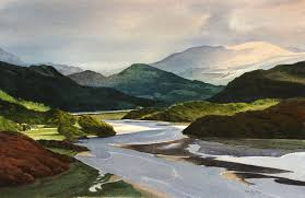 mawddach estuary an original watercolour painting by rob piercy mountains lakes and rivers