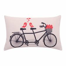 whole fl bicycle lumbar pillow cover love birds cushion cover flower basket decorative pillow case for sofa valentines day gift waterproof cushions