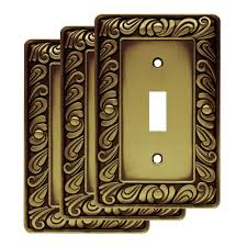 franklin brass paisley single switch wall plate in tumbled antique brass 3 pack com