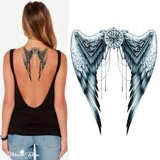 Details About Angel Wings Temporary Tattoo Mechanical Grey Body Art Festival Womens Mens