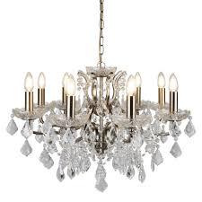 searchlight 8738 8ab paris 8 light chandelier clear crystal drops antique brass