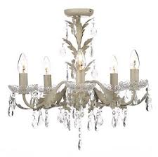 chandelier ceiling light candle effect paisley cream flush home collection