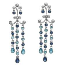 sapphire blue topaz diamond gold chandelier earrings for