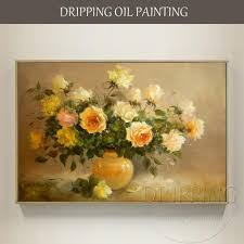 impressionist style pure hand painted high quality yellow rose flower oil