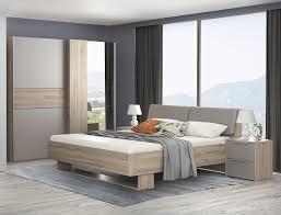 Schlafzimmer Set Komplett 4 Teilig Bianco Eiche Basalt Grau Neu