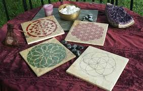 Crystal Grid Patterns Simple Hand Painted Crystal Grid Tiles Hand Painted Sacred Geometry Assor