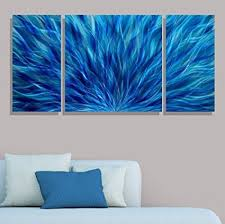 blue modern abstract metal wall art hand painted contemporary wall sculpture cascading waters iii on abstract metal wall sculpture acrylic modern art with amazon blue modern abstract metal wall art hand painted