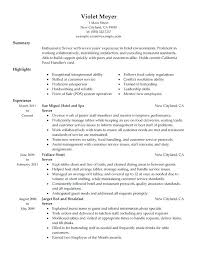 resume for restaurants restaurant experience resume foodcity me