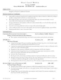 Coordinator Sample Resume