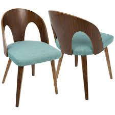 lumisource ava mid century walnut and teal modern dining chair