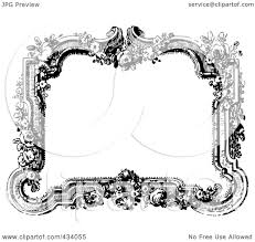 border frame victorian. Royalty-Free (RF) Clipart Illustration Of A Vintage Black And White Victorian Border Frame With Flowers By BestVector