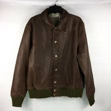 details about levis vintage clothing strauss leather jacket mens sz xl brown green distressed