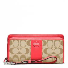 Lyst - Coach Legacy Signature Double Zip Accordion Zip in Red