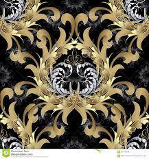Uitstekend Koninklijk Naadloos Patroon Gouden Barok Behang Bloemenv