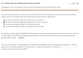 Solved 11 Present Value Of Annuities And Annuity Payment