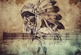 Tetování Skica Indiánské Kmenové Hlavní Bojovníků Vektory Z Knihovny