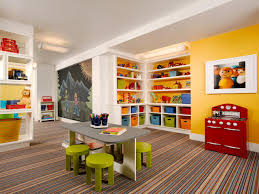 Interior Decoration:Play Room In A White Basement Living Room Colorful Kids  Playroom With Small