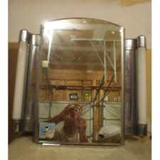 art deco medicine cabinet. Grote Atomic Art Deco Lighted Built In Medicine Cabinet Flanking Tube Chrome Wow Intended