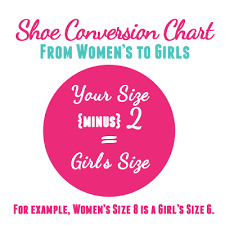 Women S Shoe Size To Kids Conversion Chart 54 Precise Girls Shoe Size Chart Conversion
