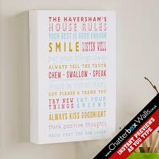 personalized family house gifts rules framed print aqua on personalised wall art gifts with personalized word art gifts for the home chatterbox walls