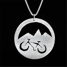 whole mountain bike round silver pendants necklace bicycle gift for athletes adventure racing boho metal charms women fashion diamond heart pendant