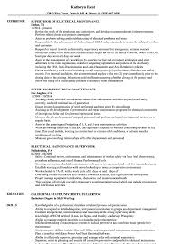 Electrical Maintenance Supervisor Resume Samples Velvet Jobs