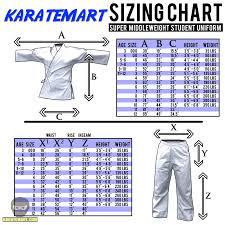 Karate Belt Size Chart New Detailed Uniform Sizing Charts Karatemart Com