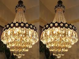 pair of antique vnt big french basket style crystal chandelier light 1940 s 16in